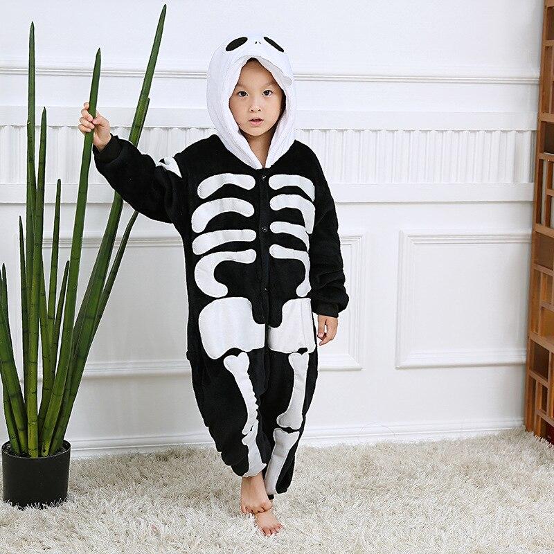 2019 Neuestes Design Skeleton Overalls Decke Overall Kinder Weihnachten Halloween Pyjamas Onesie Kinder Cosplay Flanell Nachtwäsche Cosplay Kostüme Eine Lange Historische Stellung Haben
