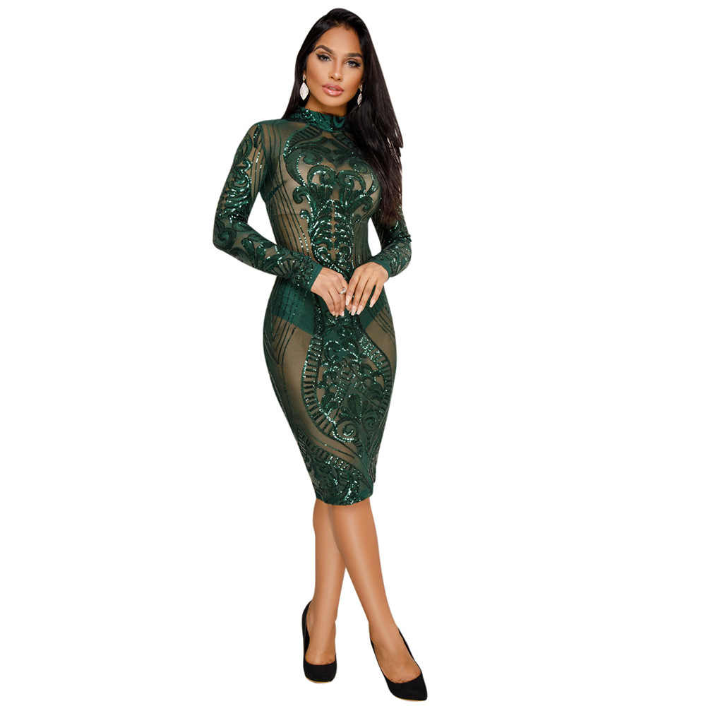 Night Club Dresses 2018 New Year Sexy Sequin Dress Bodycon New Fashion Long  Sleeve Bandage Dress dec7a30ab893
