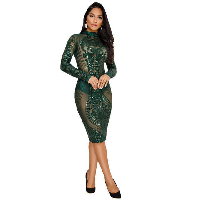 Night Club Dresses 2018 New Year Sexy Sequin Dress Bodycon New Fashion Long  Sleeve Bandage Dress Celebrity Glitter Vestidos B373 b8aa63bba042