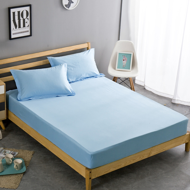 100% Cotton Mattress Cover Twin Full Queen Size Bed Fitted Sheet 1 Piece Solid Color Bed Sheet