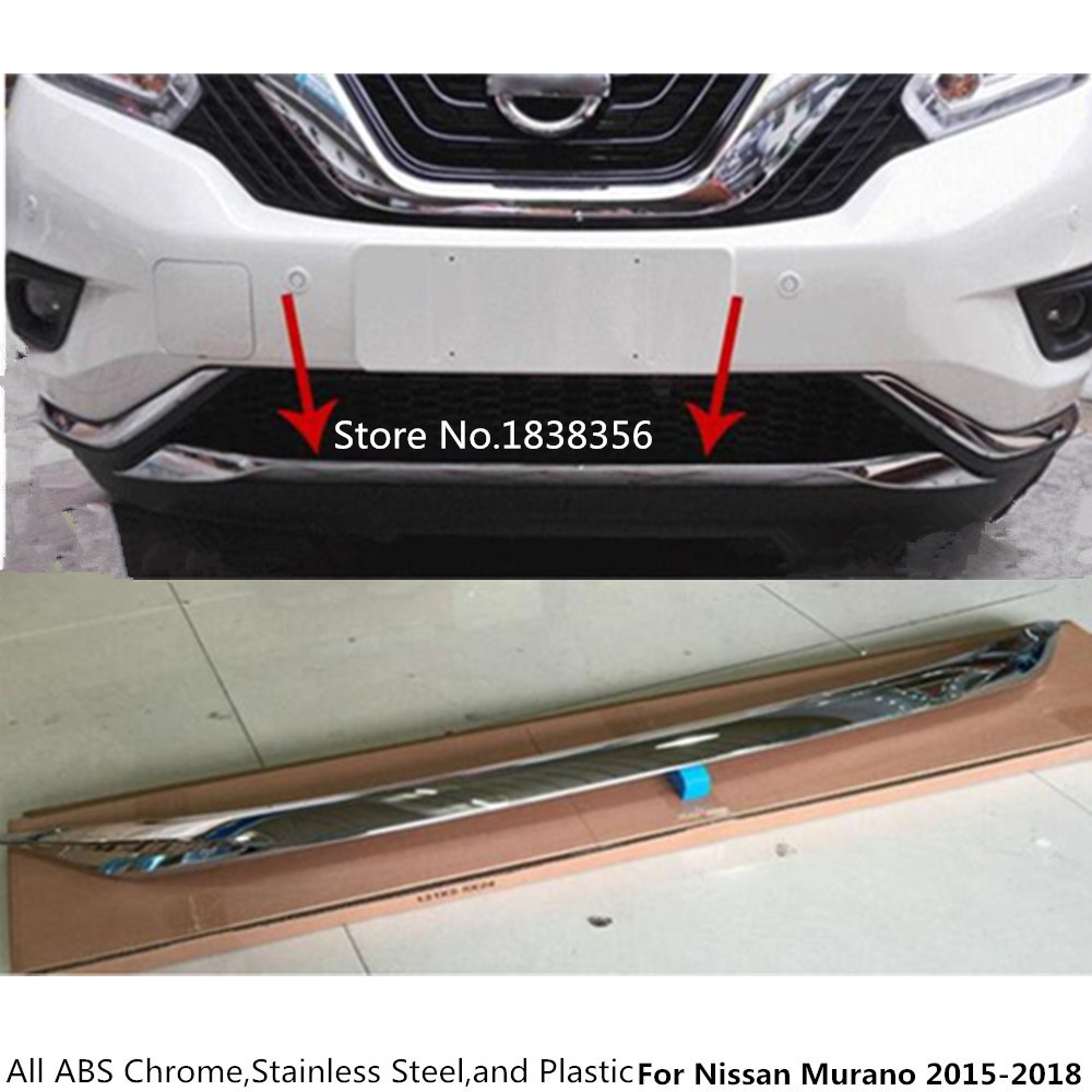 Top For Nissan Murano 2015 2016 2017 2018 car body bumper engine ABS Chrome trim Front bottom Grid Grill Grille edge panel 1pcs keyhole front flounce trim knot detail top