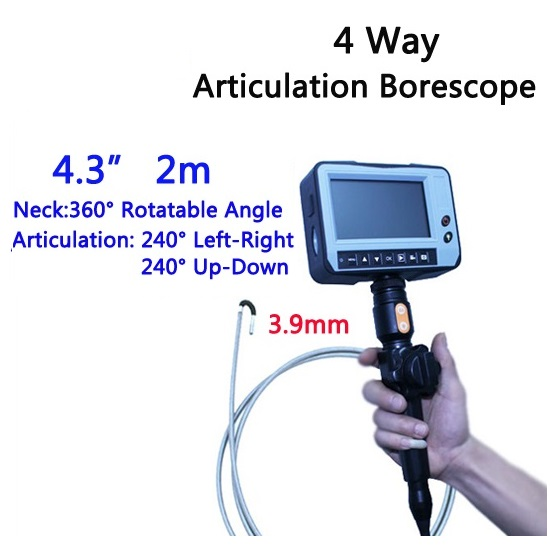 3 9mm 4 Way Direction 2M Rotational Inspection Camera Industry Endoscope Video Borescope 4 3inch LCD