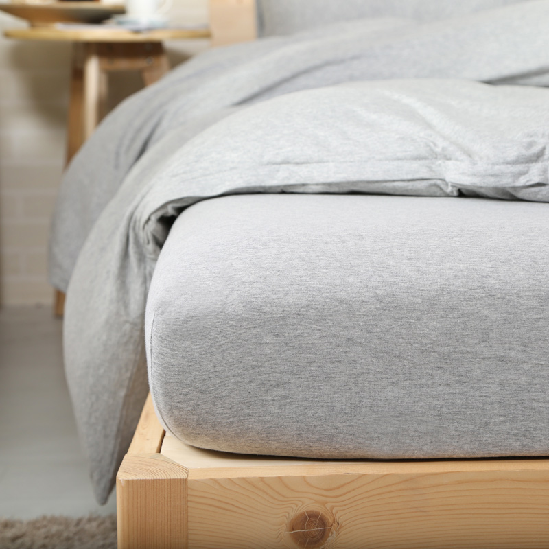 4pcs 100% Cotton Jersey Knit Duvet Cover Set Elegant Solid Grey Bedding Sets  Double King Size In Bedding Sets From Home U0026 Garden On Aliexpress.com |  Alibaba ...