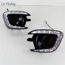 Auto Knipperende Auto Styling Voor Mitsubishi Pajero Sport 2013   2015 Led Drl Daytime Running Light Driving Daglicht Fog lamp Gat