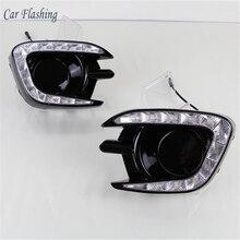Car Flashing car styling For Mitsubishi Pajero Sport 2013   2015 LED DRL Daytime driving Running Light Daylight fog lamp hole