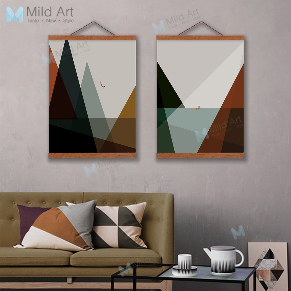 Us 8 36 47 Off Modern Abstract Poster Sea Landscape Nordic Living Room Home Decor Vintage Scroll Wall Art Picture Wooden Framed Canvas Painting In
