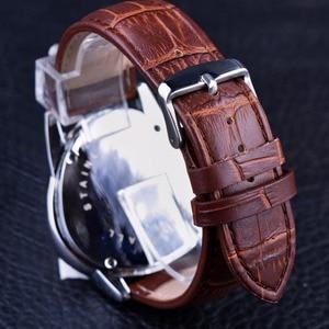 Image 5 - Jaragar Sport Mode Design Geometrische Dreieck Fall Braun Lederband 3 Zifferblatt Männer Uhr Top Marke Luxus Automatische Uhr Uhr