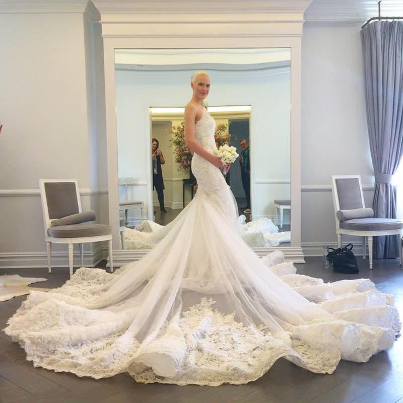 Luxury Brand Mermaid Wedding Dresses 2016 One Shoulder Cathedral ...