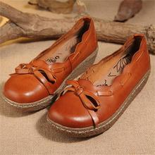 2017 new thick heels genuine leather handmade women shoes fat feet wide feet comfortable casual shoes 6828-29
