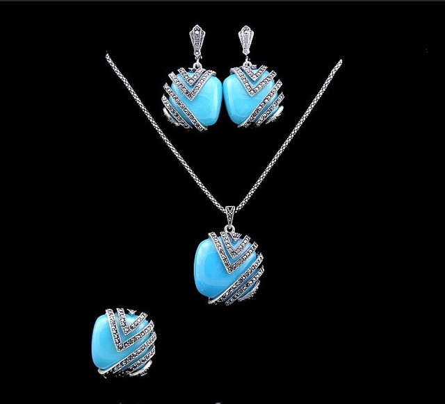 2016 New Arrival Vintage Silver Plated Jewellery Fashion Square Blue Resin Turkish Jewelry Set