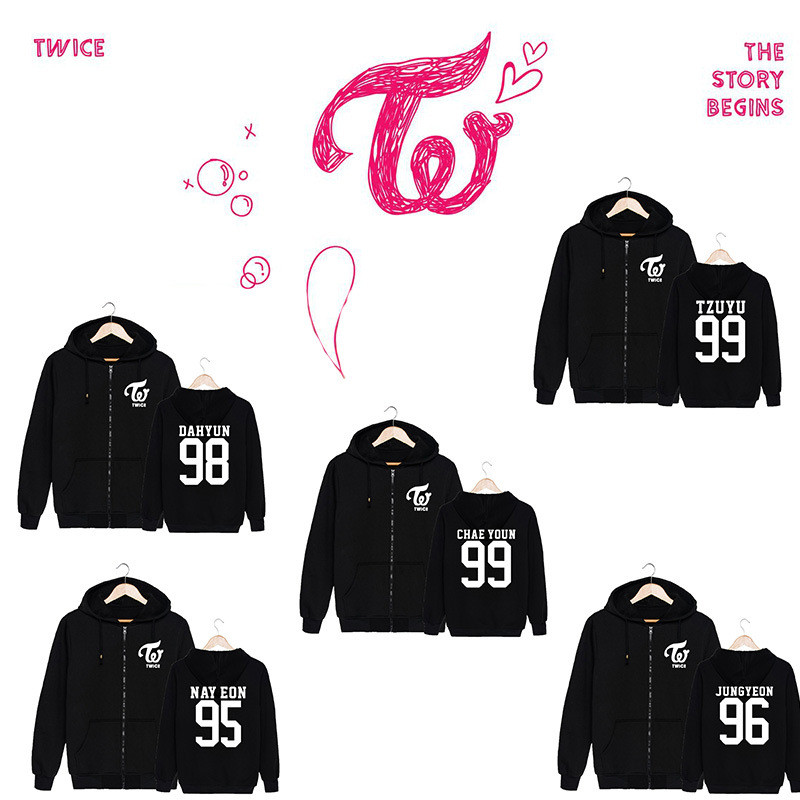 KPOP Korean Fashion Twice Album MOMO Cheer Up Cotton Zipper Hoodies Clothes Zip up Sweatshirts