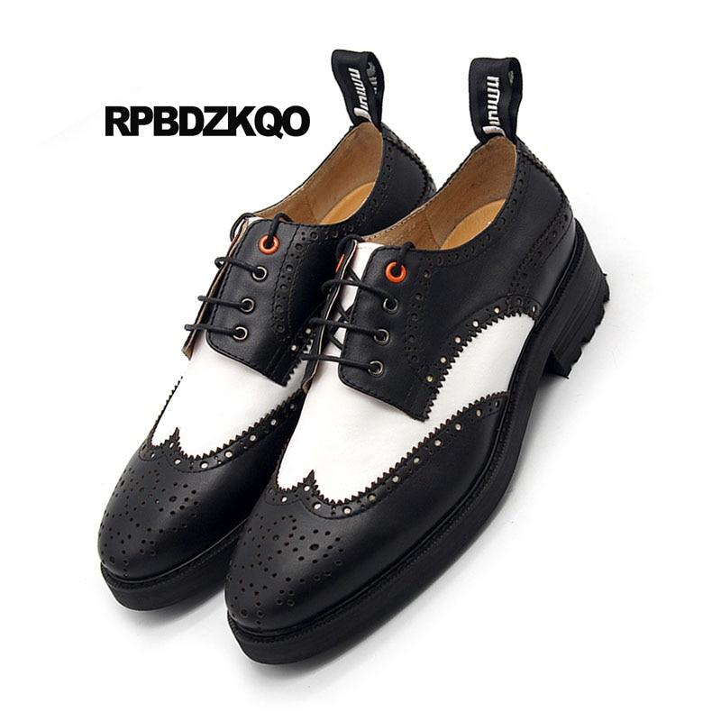 Brogue Plate White Wingtip Et Printemps Black Cuir Main Marque En Oxfords Pointu Blanc Véritable Hommes Noir Chaussures La New Bout Creepers Occasionnels forme À gwAwRq5
