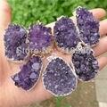 H-DP12 SILVER Raw Druzy Amatista Colgante Amethyst Púrpura Pendiente de Piedra Púrpura Druzy 33mm-38mm de Largo Al Azar en FORMA