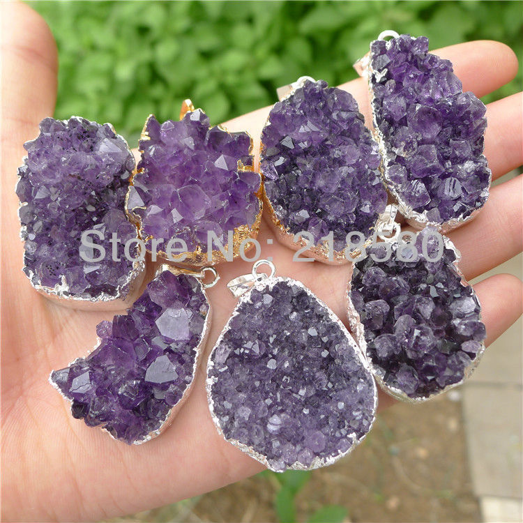 H-DP12 Silver <font><b>Raw</b></font> Druzy Amethysts <font><b>Pendant</b></font> Purple Amethysts Stone <font><b>Pendant</b></font> Purple Druzy 33mm-38mm Long Random in SHAPE image