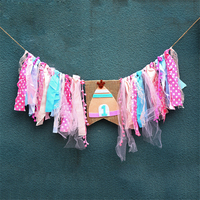 HAOCHU Boy Girl First Birthday Party Baby Chair Flag Banner Pink Blue Lace Tissue One Year