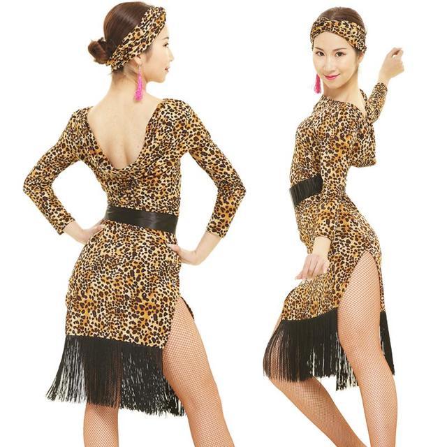 9a59ee830 New adult women 5 colors Latin dance long sleeve dance dress tassel ...