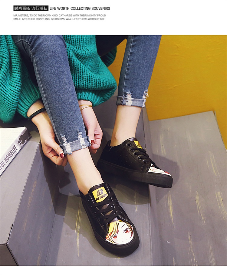 ФОТО Kawaii Cartoon Characters Printed Ladies Flat Heel Cute Casual Shoes Round Toe PU Leather Women Shoes Breathable Free Shipping