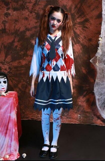 vocole halloween high school girl zombie uniform ghost blood shirt skirt set costume