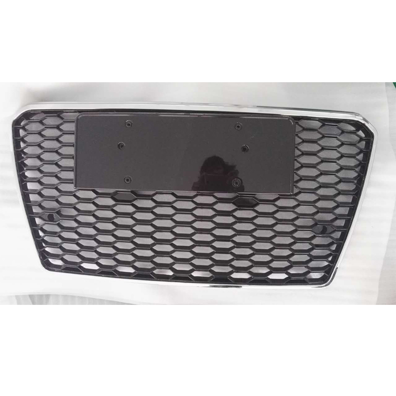 A7 RS7 Style Chrome Frame Black 4 Ring Front Bumper Mesh Grill Guard For Audi A7