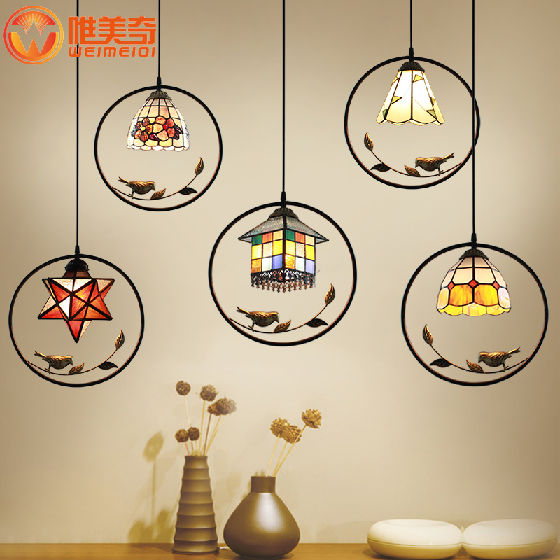 Mediterranean bird house pendant light stained glass for Restaurant bar lamp aisle balcony entrance droplights