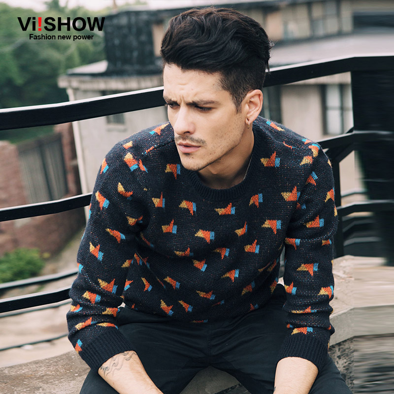 VIISHOW Brand Men Sweater Pullovers Men Hip Hop Casual Knitted Sweater Men Wool Print Casual Clothing Plus Size M-5XL Z103553