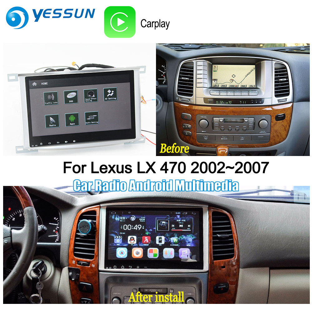 US $535 5 15% OFF|YESSUN For Lexus LX 470 2002~2007 Car Android Carplay GPS  Navi maps Navigation Player Radio Stereo BT HD Screen no CD DVD-in Car