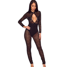 spring womens lace jumpsuit perspective tight sexy nightclub black