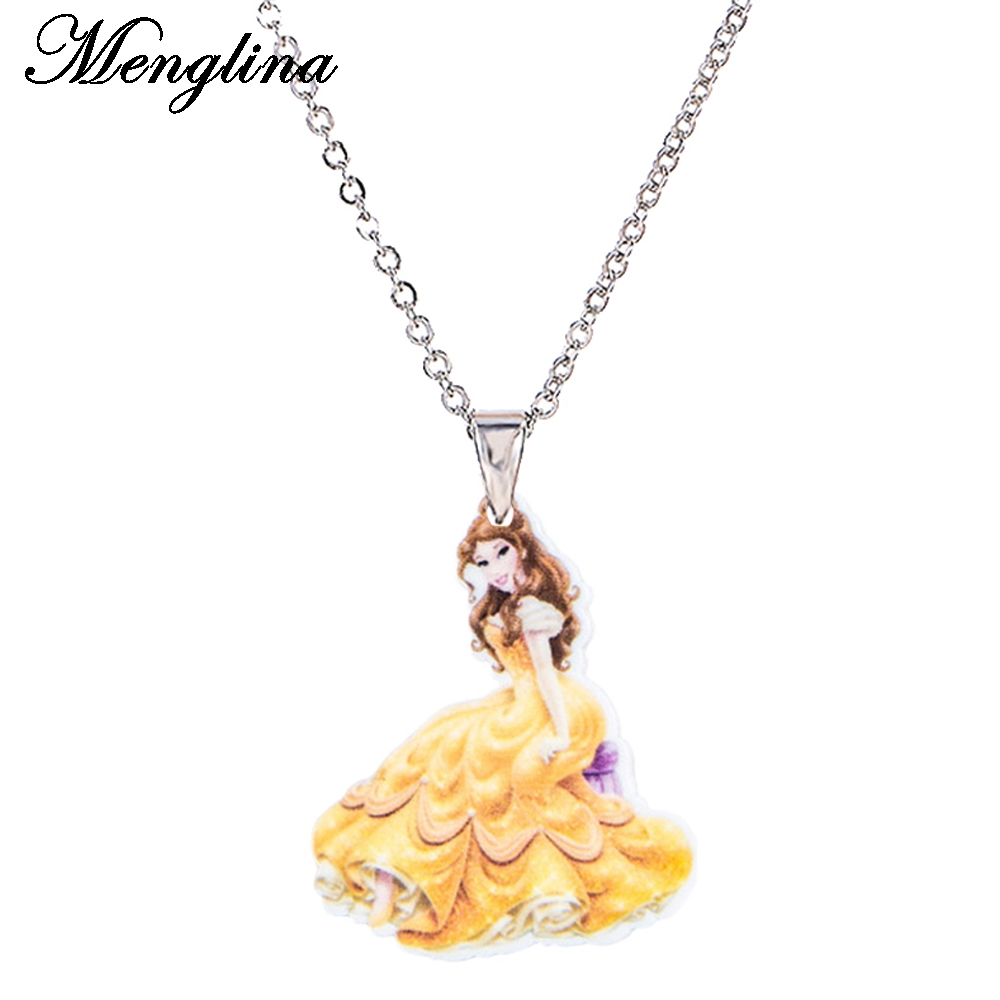 Menglina Fashion Jewelry Necklace For Children Sexy Cartoon Princess Pendant Necklace Resin Charm Accessories Little Girl Gifts