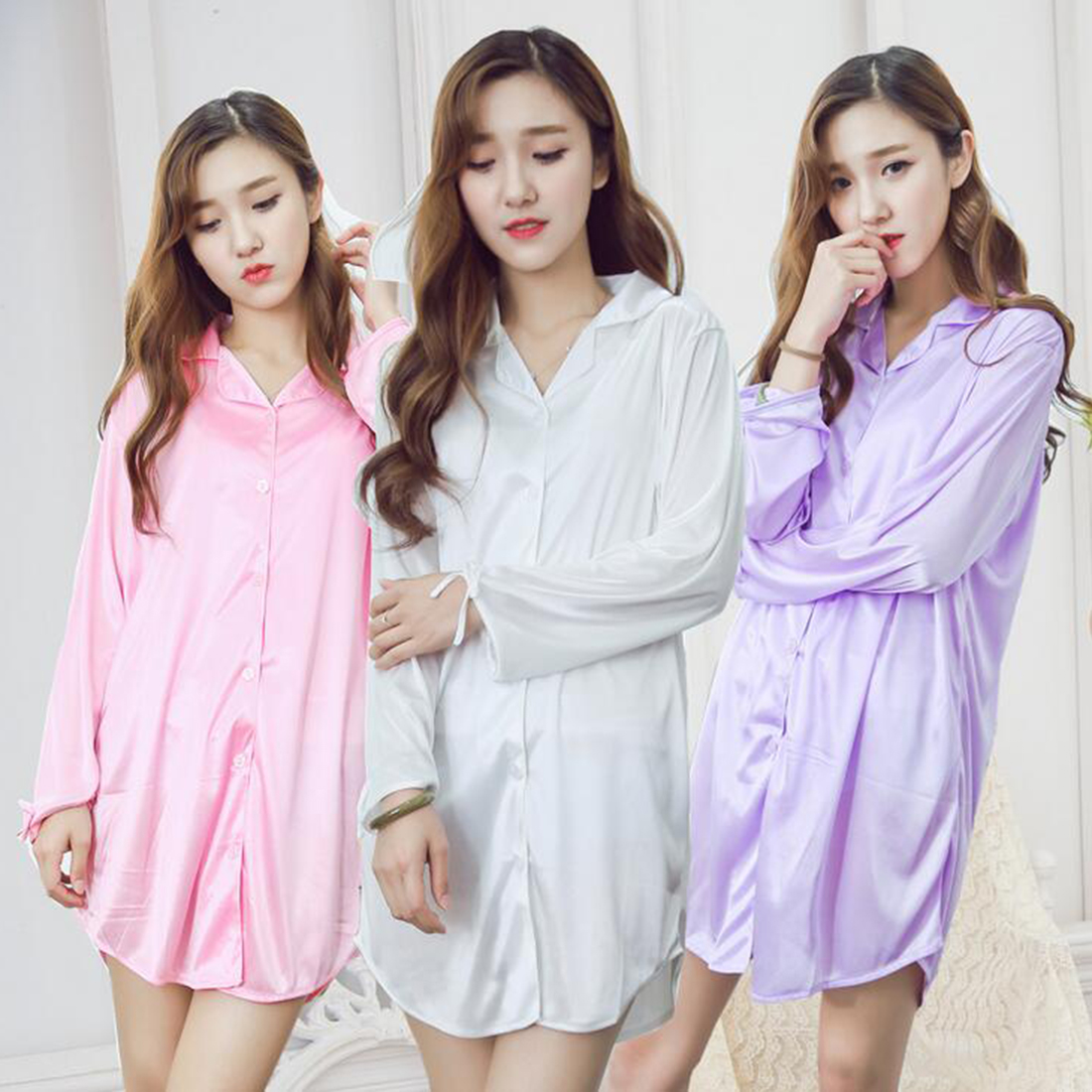 Knee Length Purple White Pink Nigh Dress Women Button Up Long Sleeve Silk Nightgown Sleepwear Nightwear