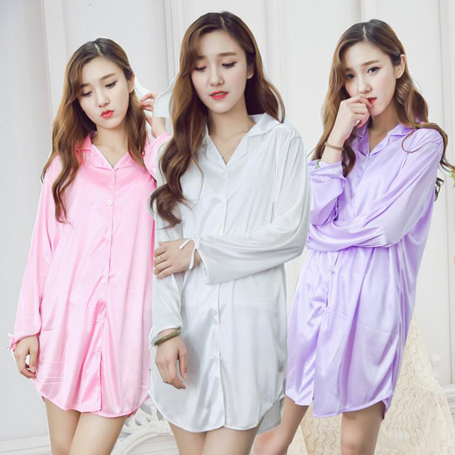 Knee-Length Purple White Pink Nigh Dress Women Button Up Long Sleeve Silk Nightgown Sleepwear Nightwear 2017 Sexy Shirt Lingerie