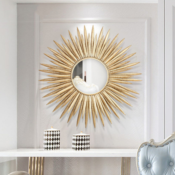 European Luxury Wrought Iron Flower Decorative Mirror 1