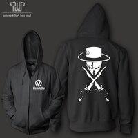 Darmowa Wysyłka V Jak Vendetta mężczyźni unisex kapturem sweatershirt ciężkie kaptur Zipup 800 gram wagi organic cotton fleece łączą