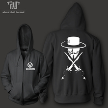 Free Shipping V for Vendetta men unisex Zipup hoodie sweatershirt heavy hood 800 gram weight organic cotton fleece combine