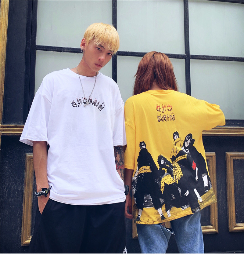 T-Shirt Couple Naruto Short-Sleeve Oversized Tee Hip-Hop Japanese-Style Anime Summer title=