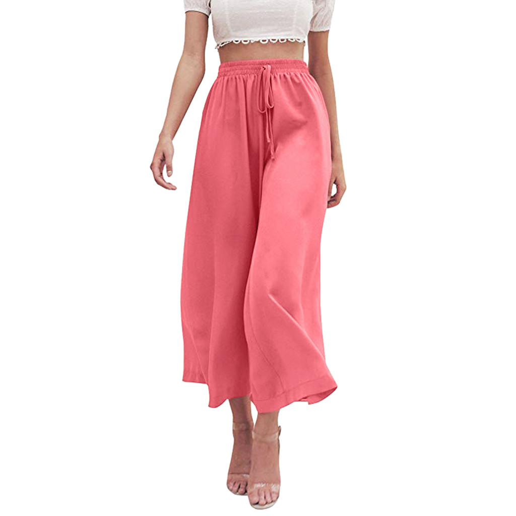 2019 Women Casual Loose   Wide     Leg     Pants   Women Summer Soft Chiffon Elastic High Waist Solid   Wide     Leg   Loose Long   Pants   Z0509