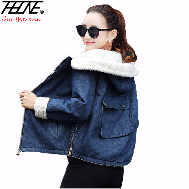 THHONE Autumn Winter Jackets Women Short Parka Coat Hooded Fleece Warm Velvet Big Pocket Fashion Denim Jackets Ladies Jeans Coat