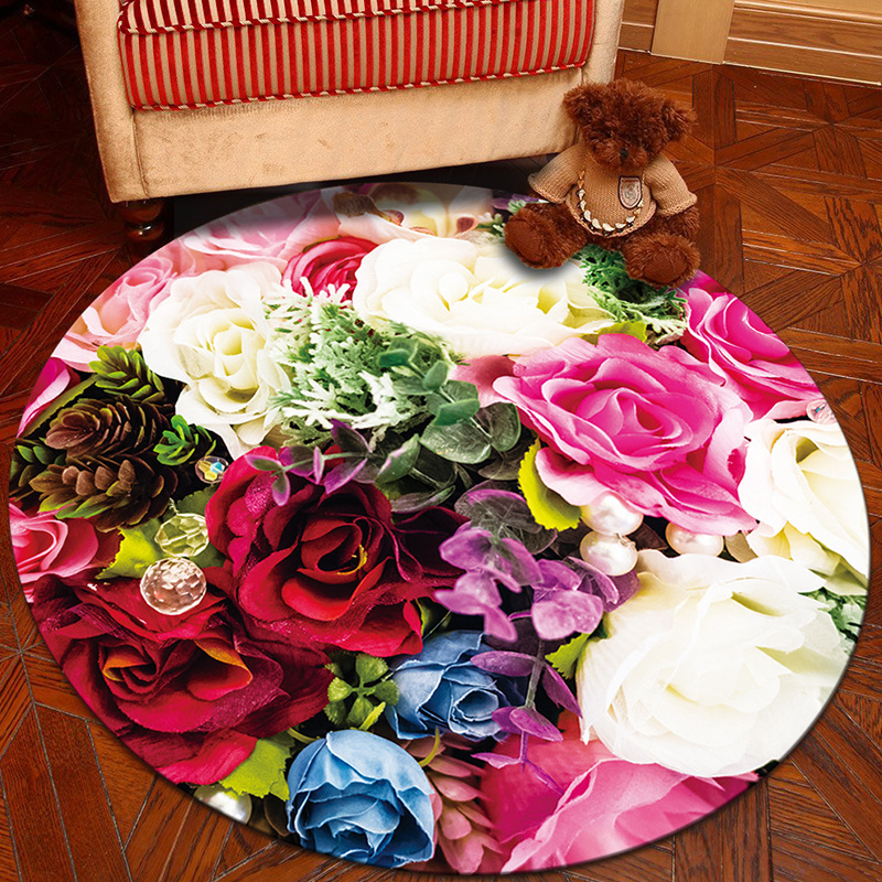 Nodic 3D Floral Room Round Carpet Living Room Bedroom Home Decor Carpet Rug Children Kids Room Soft Play Area Rug Chair Mat