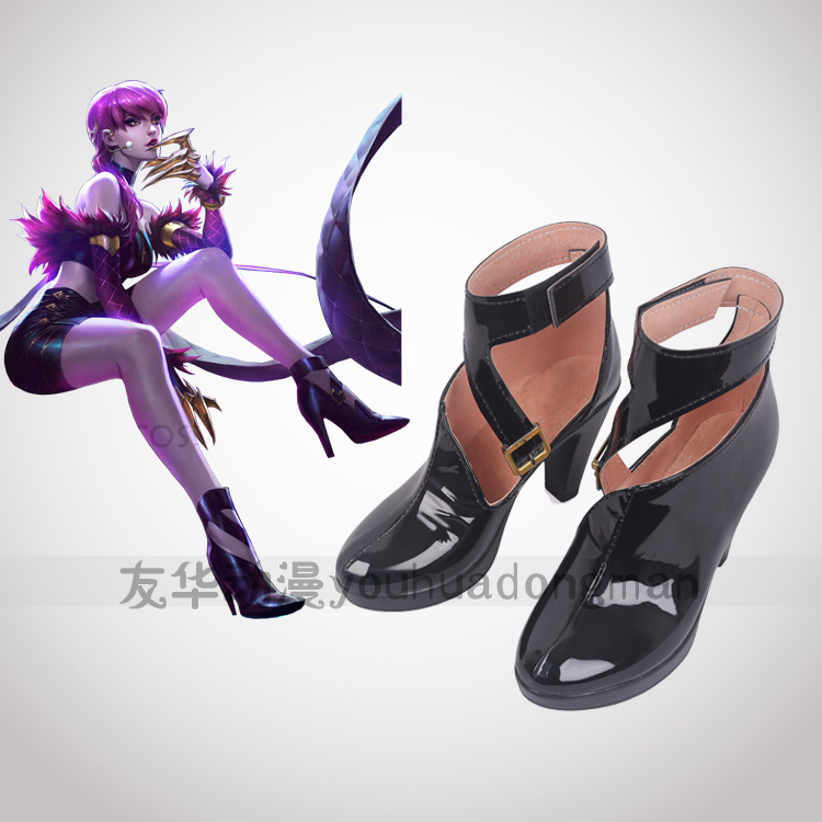 Game LOL WOMEN ROLE PLAY KDA Team Evelynn Cosplay Shoes Evelynn role play black high heel shoes any size