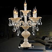 Большие 5 arm Ресторан стекла, настольные лампы светодио дный подсвечник свадьба канделябры свет спальня настольные свечах хрустальные подс
