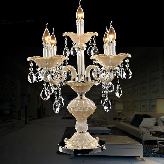 Big 5-arm Restaurant glass table lamp Led candlestick wedding candelabra light bedroom table candle light crystal candle holders