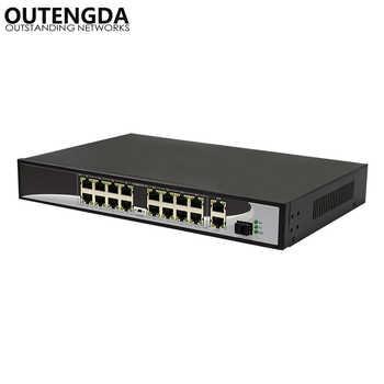 16 ports POE Switch with 16 POE Ports 2 Gigabit Uplink 1*1000Mbps SFP Power to IP Camera, Wireless AP, IP Phone