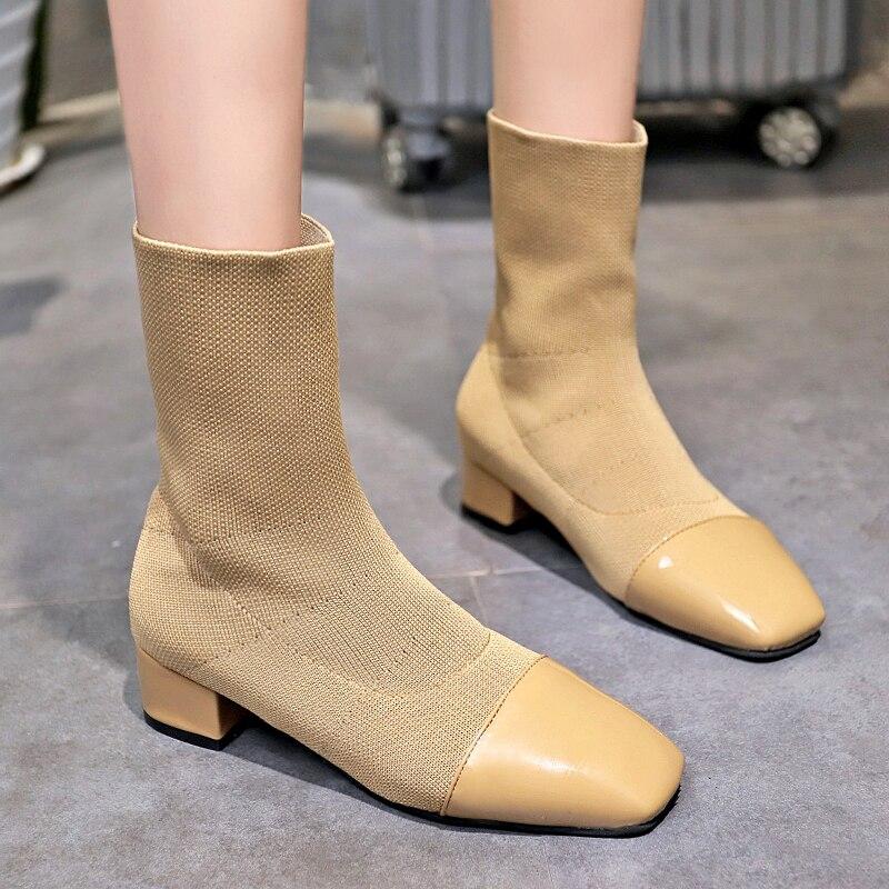 Femmes Chaussures Martin Bottes Mi-mollet Dames Bottillons enfiler Automne Hiver Élégant Sexy Party Stretch Tissu De Luxe Marque Conception