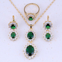 Sparkly Green Imitation Emerald White CZ Zircon 18K Yellow Gold Plated Jewelry Sets Trend For Women