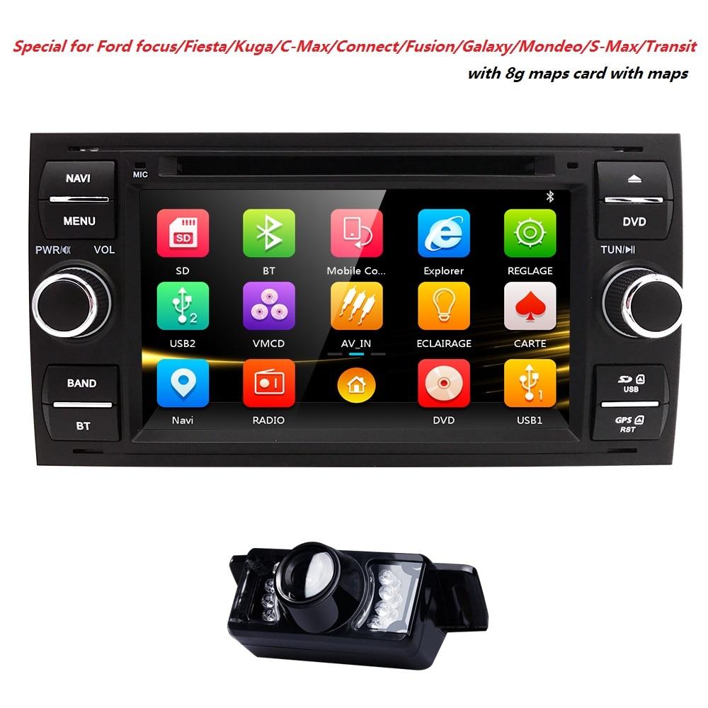 Car DVD GPS Navi Player Auto Radio Audio For Ford Focus 2 Mondeo S C Max Fiesta Galaxy Connect steering wheel Ipod 3G CD Camera