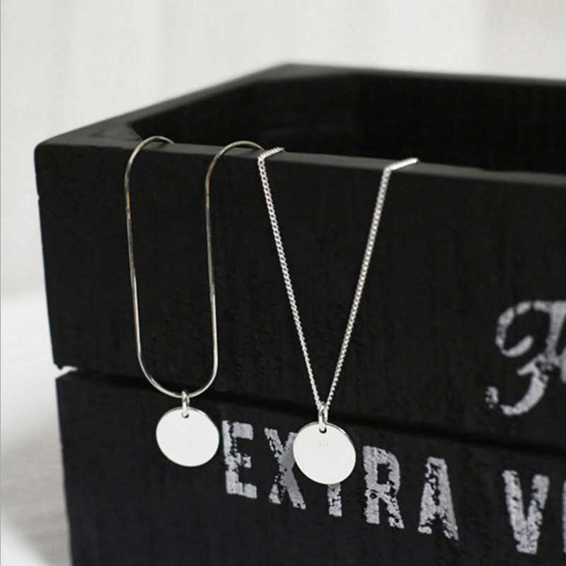 100% подлинное серебро 925 пробы модный простой привлекательный геометрический глянцевый круглый кулон