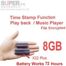 X22 batería grande 72 h de trabajo + 8 GB mp3 + disco de memoria + sello de tiempo de audio grabadora de voz de voz cifrado de archivos activado reproductor de audio