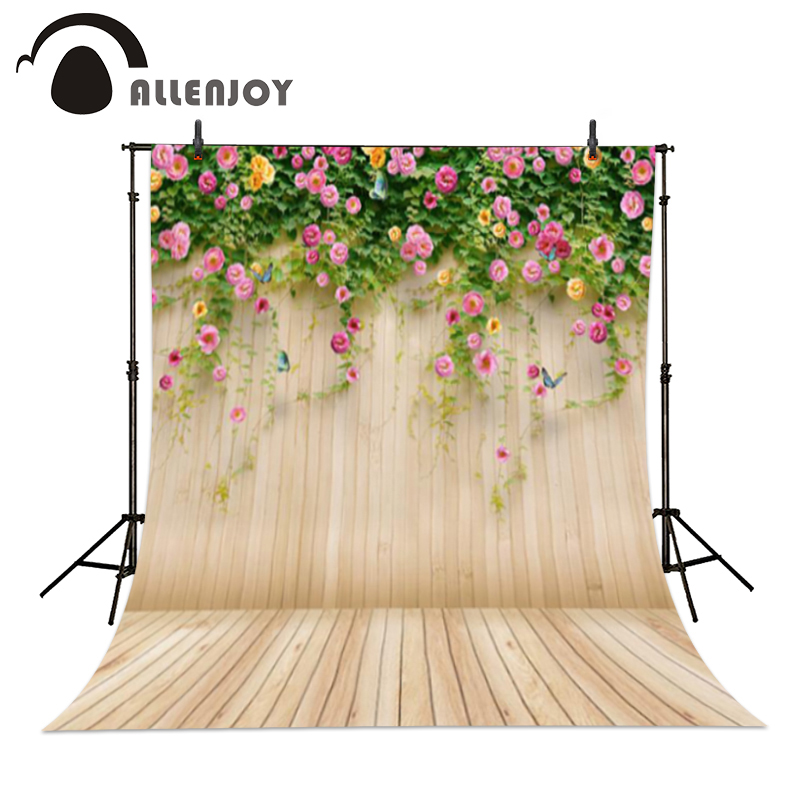 Allenjoy photography backdrops 220*150cm(7*5ft) Wooden flower butterfly background photography