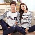 2015 otoño largo de la manga de dibujos animados mujeres inicio ropa a juego parejas pijama más del tamaño pijamas oso kigurumi ropa de noche