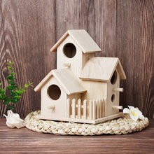 Creative Bird House Wall-mounted Wooden Nest Dox Nest House Bird House Bird Box Wooden Box Cage Decoration Garden Jun10(China)