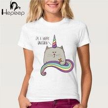 Hopuptee brand+I'm happy unicorn cat print T Shirt women's short sleeve cute tops tees